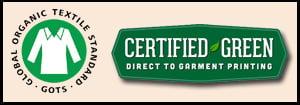 Custom Printed T-Shirts Certified Green