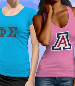 custom printed shirts. universitty of arizona and greek custom t shirts